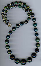 VINTAGE MARBLED BLUE MOON & GREEN YELLOW GRADUATING SIZE BAKELITE BEADS NECKLACE
