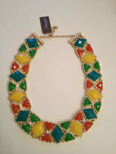 NWT Natasha Goldtone, Multi Stone Inlay Necklace.