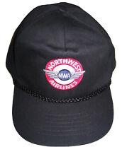 Northwest Airlines NWA Embroidered Logo Black Hat Cap Baseball Adjustable Mens