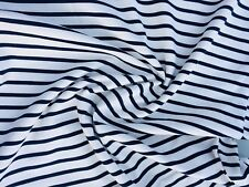 Fabric Printed Ponte di Roma Stretch, Stripes: Ivory Navy- Per Metres- UK Made