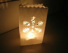 10 Snowflake Candle Paper Bag Lantern Garden Party Outdoor Luminaries gbm