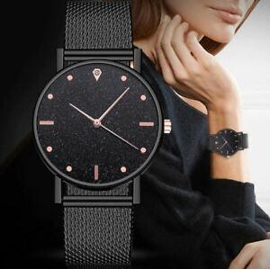 Women's Large Face, Black Crystal Sand Dial, Black 3D Mesh Strap, Dress Watch