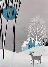 5x7 folk art print MC Christmas SNOW QUIET deer MCM mid century modern tree DC