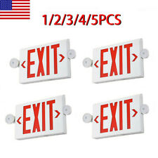 12345pack Led Exit Sign Emergency Lighthi Output Compact Combo Ul Red Fire