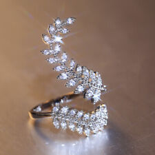 Creative Leaf 925 Silver Rings Cubic Zirconia Wedding Party Ring Size Adjustable