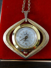 Vintage Pendant Watch Waldman 17 Jewels Antimagnetic Gold Metal Swiss Made Boxed