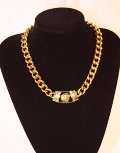 Necklace Premium Fashion Jewelry Heavy Gold Tone Chain Rhinestone Pendant JXEC
