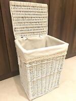 New Shabby Chic White Wicker Laundry Basket Rattan Storage Vintage Lid Lining