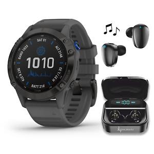 Garmin Fenix 6 Pro Solar Premium Multisport GPS Smartwatch Black with Earbuds