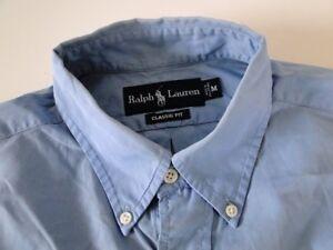 Ralph Lauren Classic Fit Herren Hemd Langarm Blau Unifarben Gr. M / 15