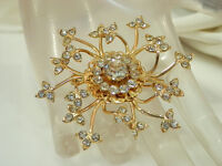Super Sparkly & Pretty Vintage 1950s Rhinestone Star Flower Brooch  291JL4
