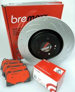 BREMBO pads & BREMAXX slotted disc brake rotors FRONT for SUBARU WRX Sti MY02-
