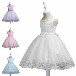 Kids Flower Party Girls Beads Dresses Wedding Bridesmaid Prom Gown Princess UK