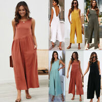 Women Baggy Sleeveless Backless Jumpsuit Playsuit Casual Loose Trousers Romper