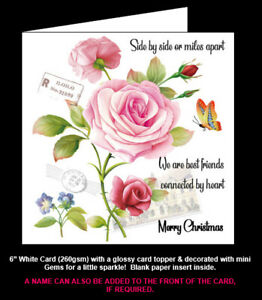 Side by Side or Miles Apart, Friends Connected By Heart Birthday/Christmas Card.