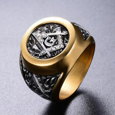 18K Gold Freemason Masonic Stainless Steel Crystal Zircon Men Punk Jewelry Ring