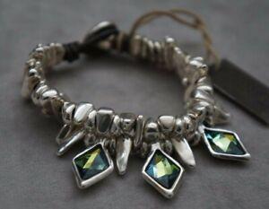 "NWT Uno De 50 ""Stalactite"" Sahara Blue Elements Crystal Wrap Bracelet 7"""