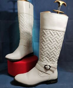 ROZITA White Faux Leather Quilted Silver Buckle Linred knee High Boots 👢 Size 7