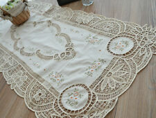 "40"" French Country Ecru Batten Lace Floral Embroidered Table Runner 18"" Wide"
