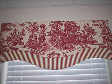 RED/CREAM~WAVERLY Country Life Toile Db Scallop W/Ticking Trim Valance Curtains!
