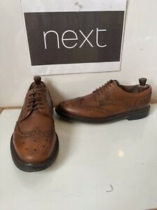Next Brown Leather Smart Brogues Shoes Size UK 9 EU 43