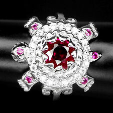 PINK RASPBERRY TOURMALINE RING 2 CT.SAPP RUBY 925 STERLING SILVER TURTLE SZ 6.75