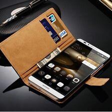 Per Huawei Ascend Mate 7 custodia in pelle a portafoglio nero flip case cover