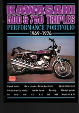 kawasaki 500 & 750 triples performance portfolio 1969-1976 by brooklands  books