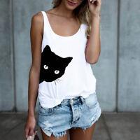 Womens Ladies Summer Vest Top Sleeveless Blouse Cat Print Tank Tops T-Shirt AB