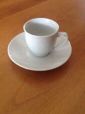 Set of 6 White Porcelain Espresso Cups and Saucers 2oz