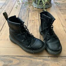 Dr. Martens 1460 J Black Leather Lace Up/Zip Ankle Boots Unisex Youth Size 12