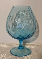MID CENTURY EMPOLI STYLE HAND BLOWN DIAMOND OPTIC GLASS AZURE BLUE SNIFTER VASE