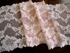 "9.25"" Wide Dusty Rose Pink Off White Stretch Lace with Floral Pattern Scalloped"