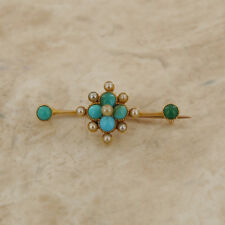 Yellow Gold Vintage Turquoise and Pearl Brooch