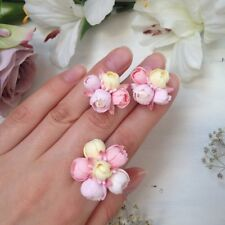 Flower Wedding Ring & EARRINGS SET Bridal jewelry Fashion polymer clay HANDMADE