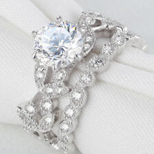Cz 925 Sterling Silver Size 9 Newshe Wedding Engagement Ring Set Round White