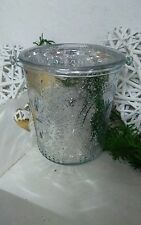 Lantern Big Rustic Silver with Handle Glass Lantern Shabby Chic