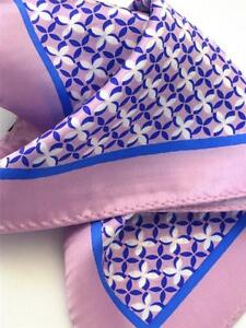 "SPECIAL- New 14"" Satin 100% Silk Pocket Square  Pinkish Lavender Print-J"