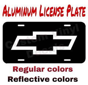 ALUMINUM LICENSE PLATE Chevy Bowtie Emblem many colors/reflective colors
