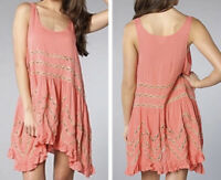 Intimately Free People Slip Dress S Coral Viole Trapeze Anthropologie Lace
