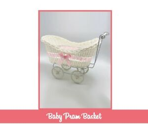 SHOWER BABY PRAM HAMPER WICKER BASKET PARTY GIFTS BOYS GIRLS NEW BORN
