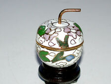 Beautiful Chinese Mini Cloisonne' Enamel On Brass White Apple Box