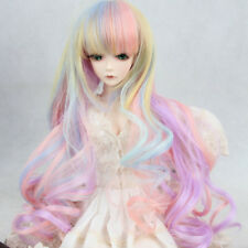 8-9'' 22-24cm 1/3 BJD SD Doll Wig Pink Ombre Long Curly Hair Cosplay Wig Toy New
