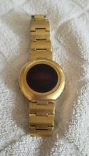 Vintage Westclox Men Gold Tone RED LED Quartzmatic Digital Watch needs Battery's
