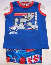 Western Bulldogs AFL Boys Blue Red Printed Cotton / Satin Pyjama Set Size 4 New