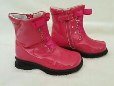 EXC L'AMOUR Hot Pink Patent Leather Boots 8 7 26 25 Ribbons Shoes LAMOUR Photos