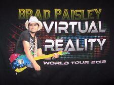 Brad Paisley Adult T-shirt, 2012 Virtual Reality World Tour, Black Cotton Size S