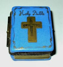 "Limoges Box - Blue ""Holy Bible"" Book & Gold Pages - Cross Clasp - Gold Candle"