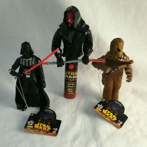 Lot of 3 Star Wars Spin Pop Candy Figures - Darth Vader, Maul, Chewbacca