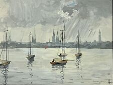 HANS FIGURA SEASCAPE HARBOR PAINTING HAMBURG ALSTER LAKE GERMANY SIGNED